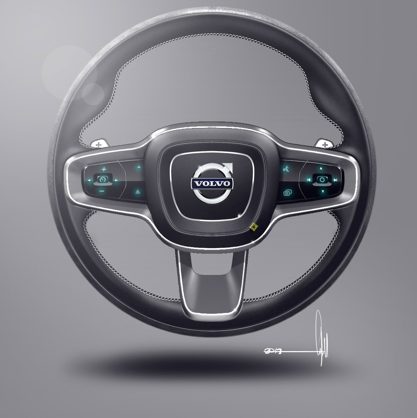 Volvo Concept Coupe Interior Steering Wheel Design Sketch