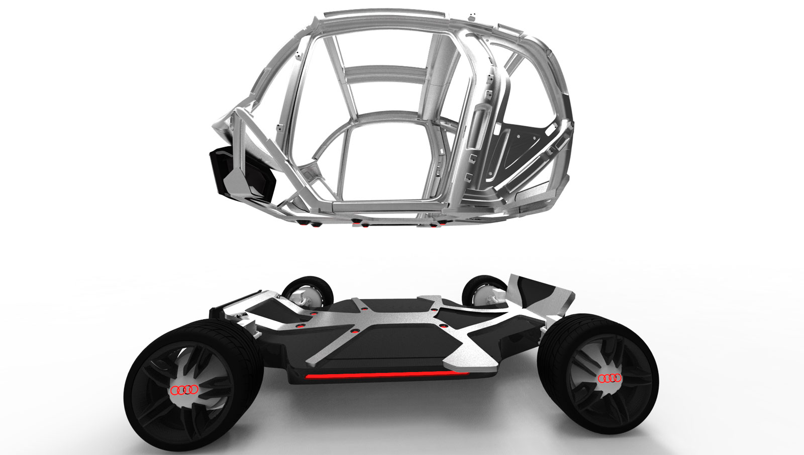 Design of car frame - The Vehicle Is Based On A Compact Version Of The Audi Space Frame Mounted On A Floor That Integrates The Battery Pack