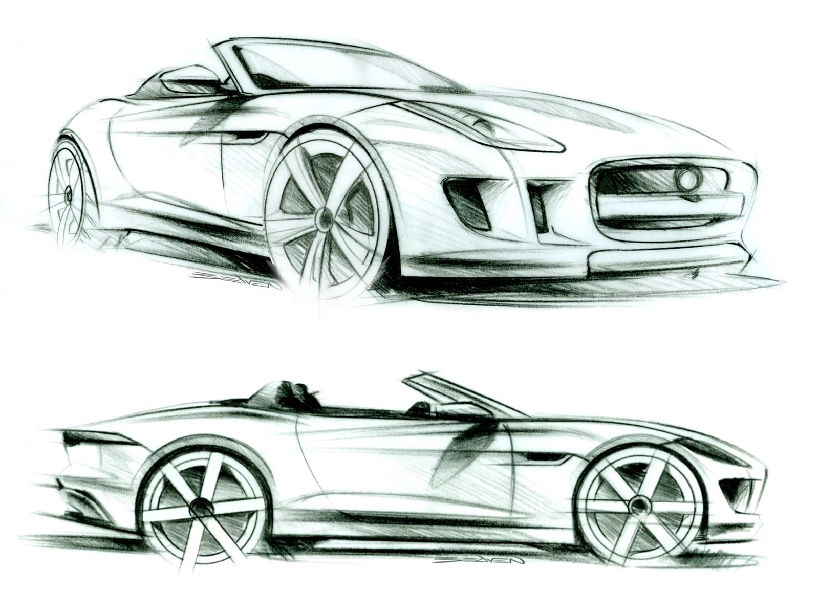 Jaguar F-Type - Design Sketches - Car Body Design