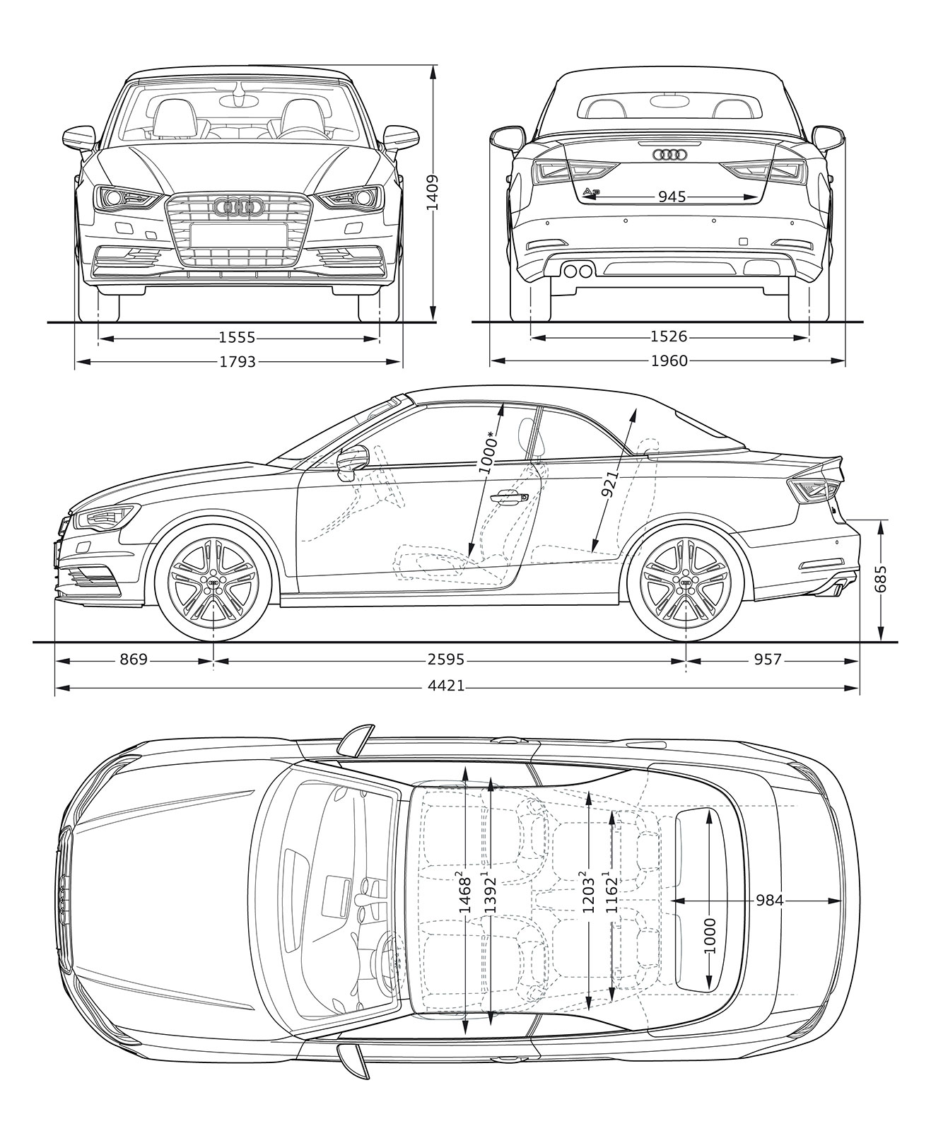 Audi A3 Cabriolet - Dimensions Blueprint - Car Body Design