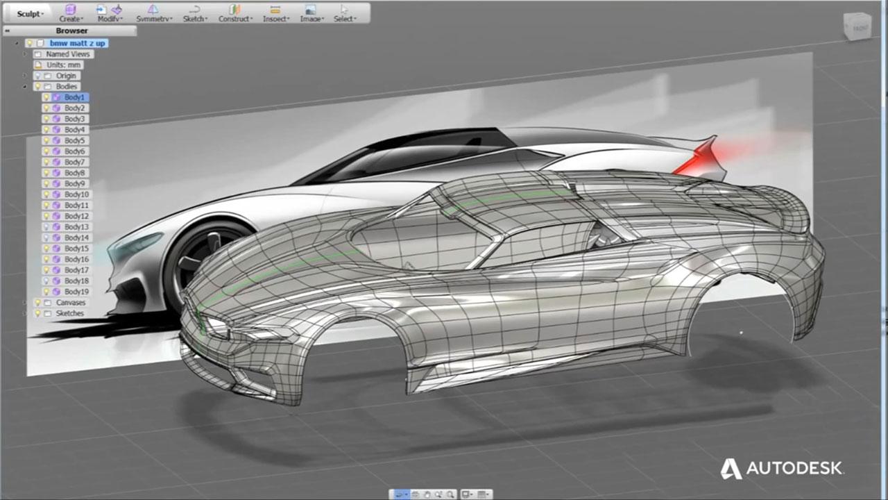 autodesk fusion 360 screenshot cmw concept 3d polygonal model car body design. Black Bedroom Furniture Sets. Home Design Ideas
