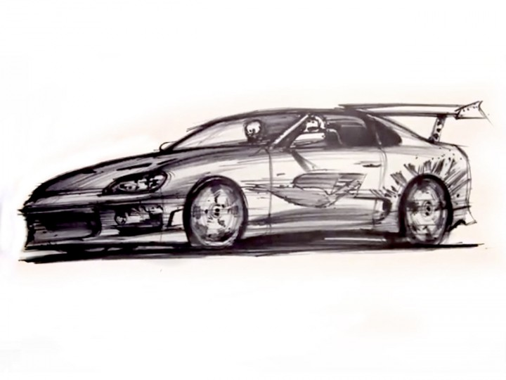Tribute Sketch to Fast and Furious actor Paul Walker - Car Body Design