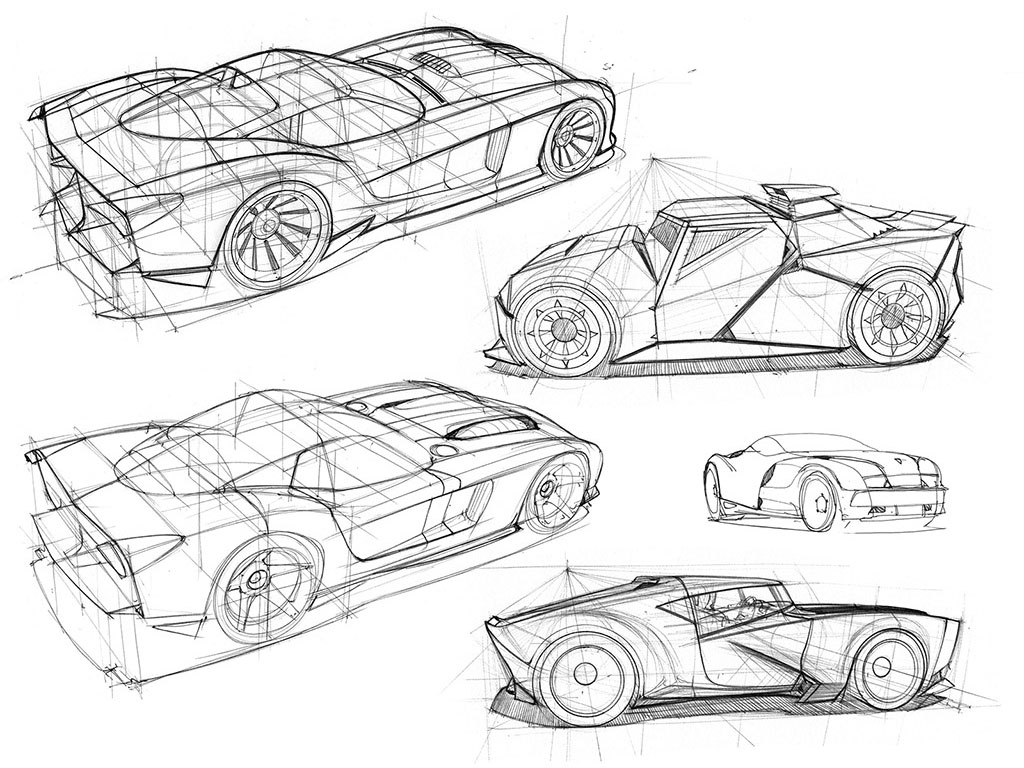 Perspective Car Drawings by Scott Robertson - Car Body Design