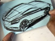 Car Post-it note Sketching with a Brush Pen