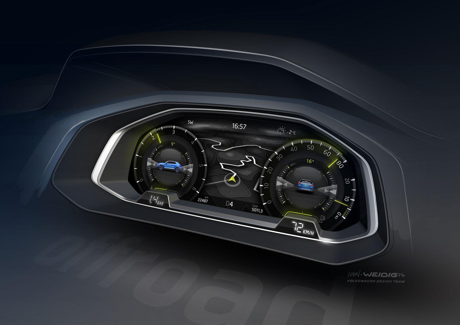 Volkswagen t roc concept interior design sketch car for Interieur concepts