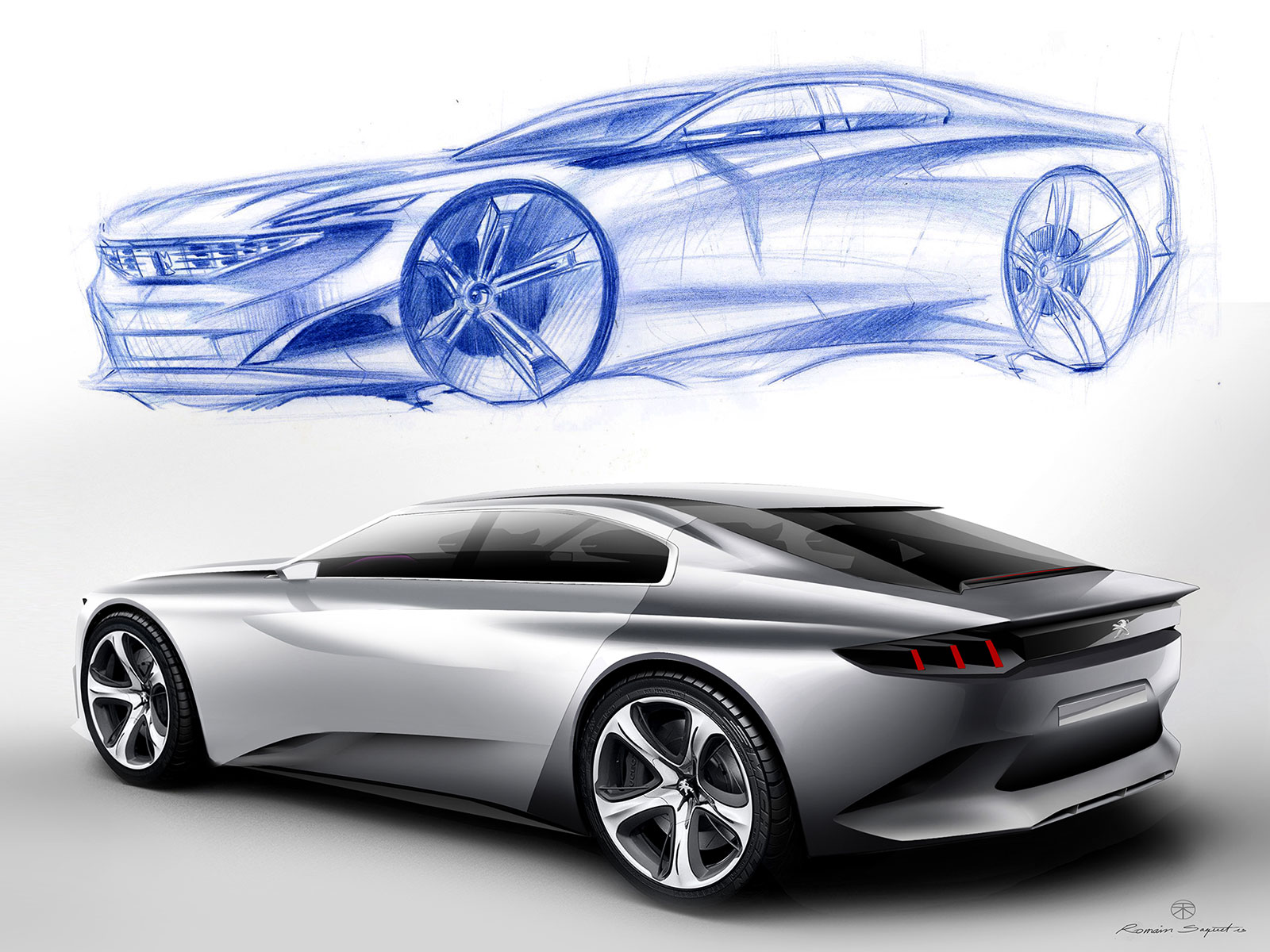 Peugeot Exalt Concept Design Sketch Rendering Car Body