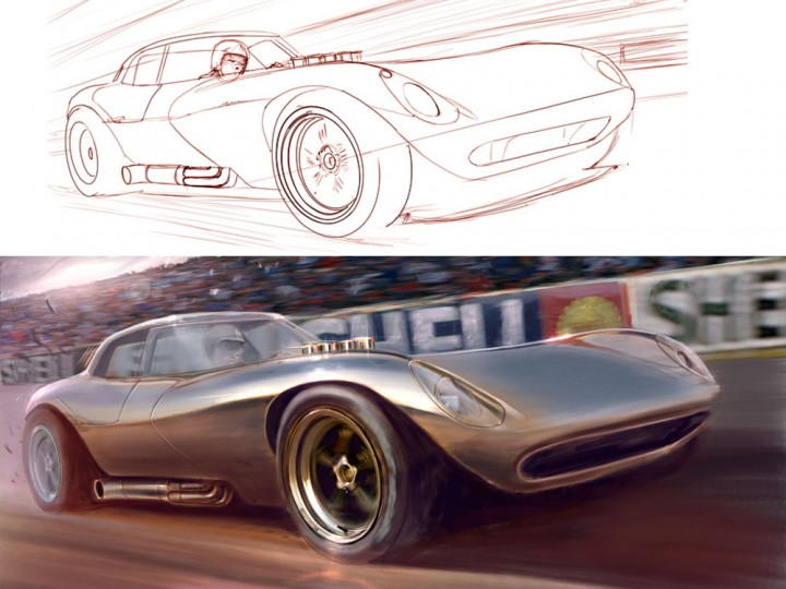 1960s Cheetah race car illustration