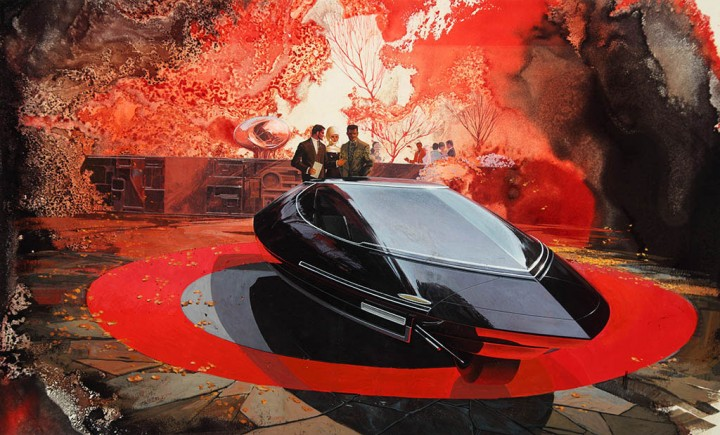 1960 ca - Syd Mead - Gyroscopically Stabilized Two wheel Car Illustration
