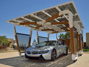 Bmw designworksusa develops solar carport concept car for Carport design software