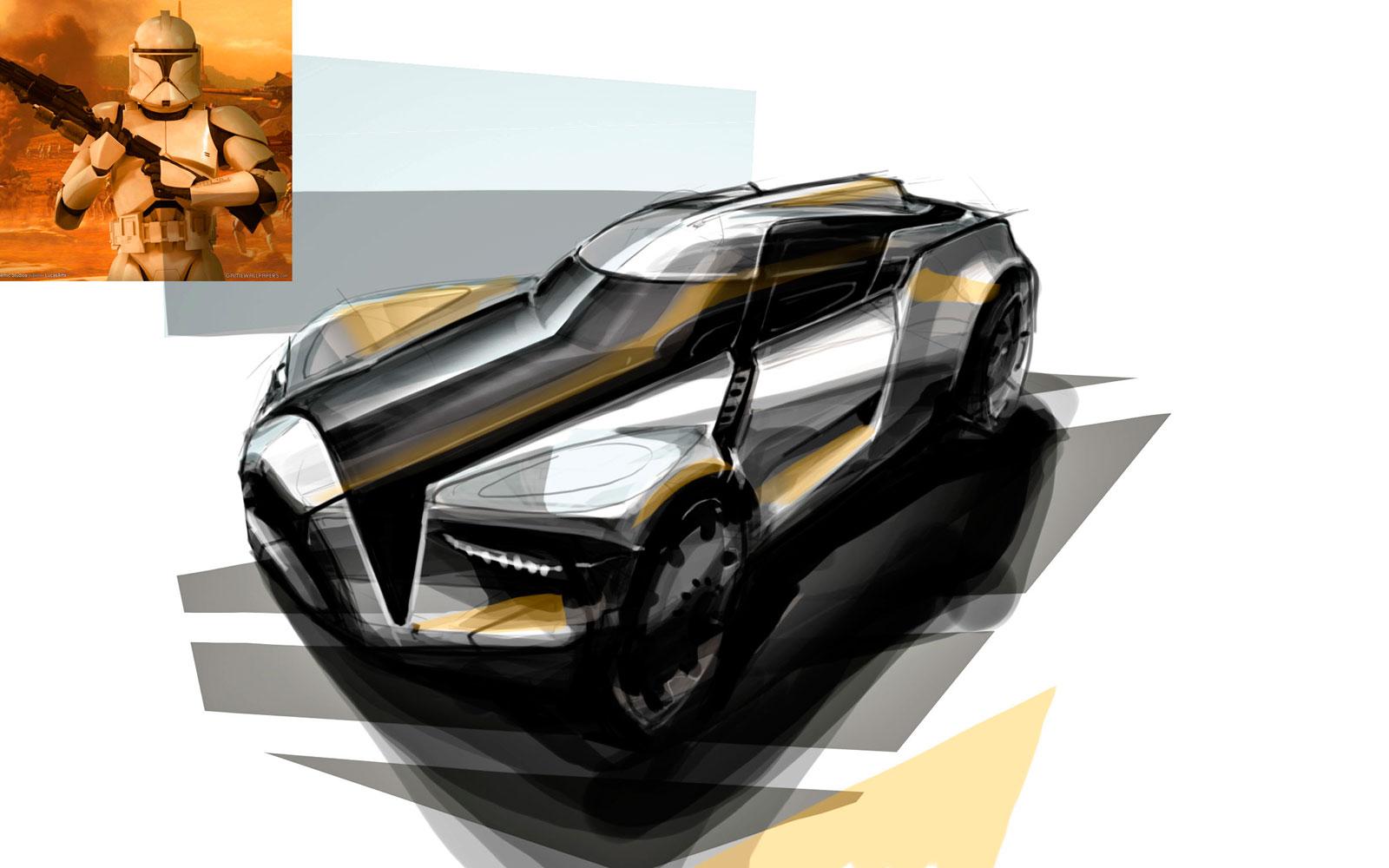 Design Sketches Star Wars Inspired Vehicles Car Body Design