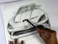 Sketching-a-Dodge-Viper-with-Prismacolor-pencils-on-Vellum-Paper