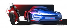 Volkswagen XL Sport Concept and Ducati Superleggera Design Sketch