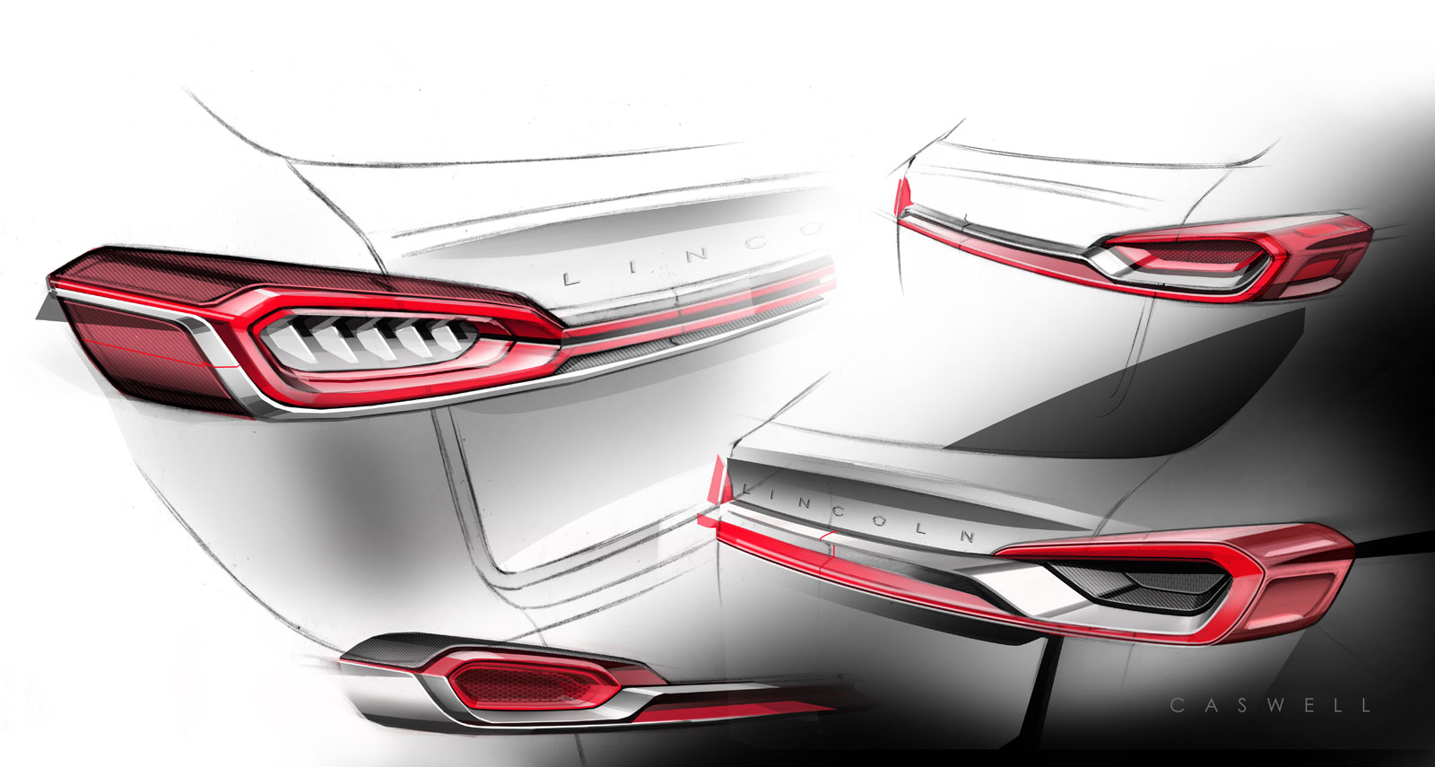 Lincoln MKX Concept - Tail Lamp ideation design sketches - Car Body Design