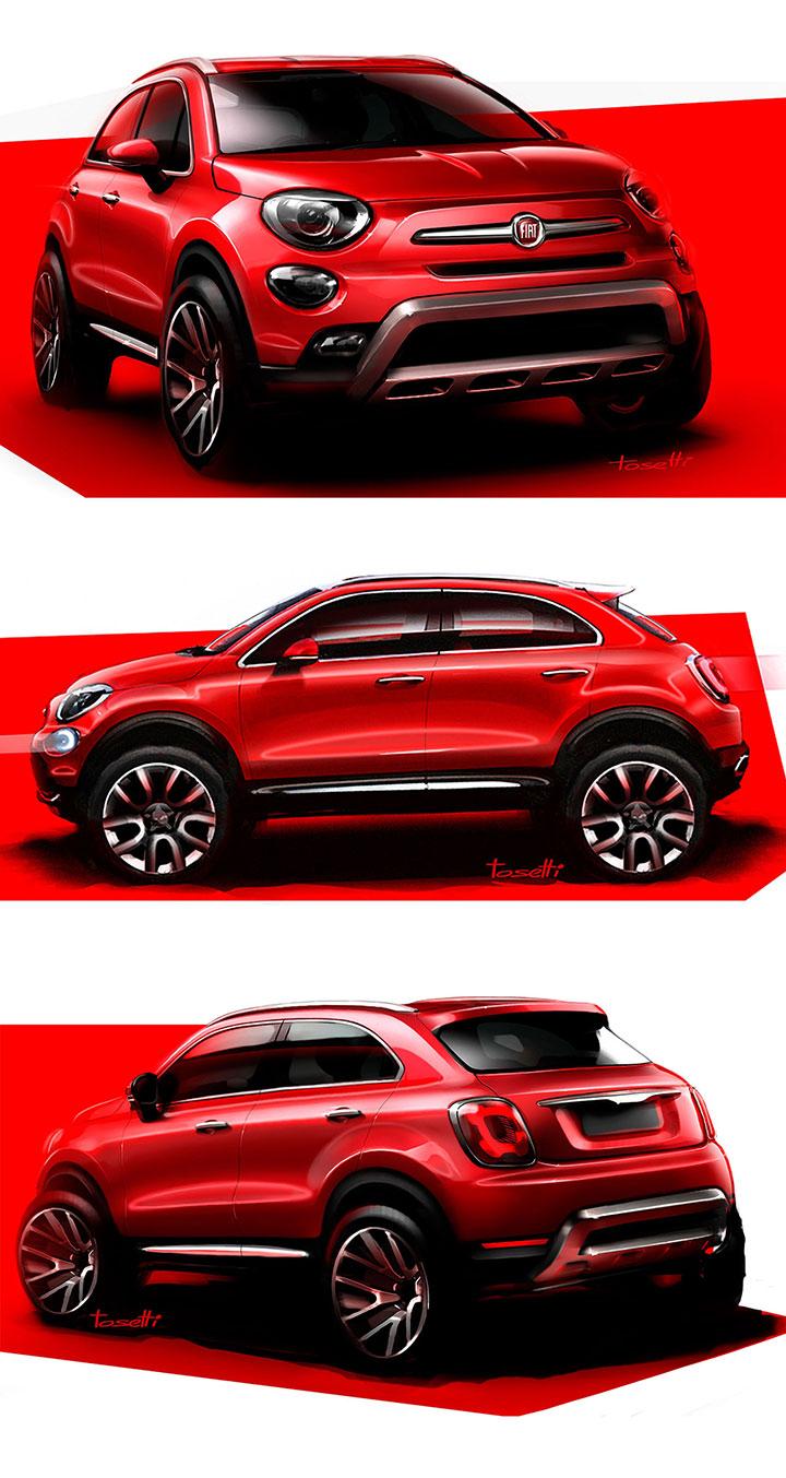 fiat 500x design sketches by fiat designer danilo tosetti car body design. Black Bedroom Furniture Sets. Home Design Ideas
