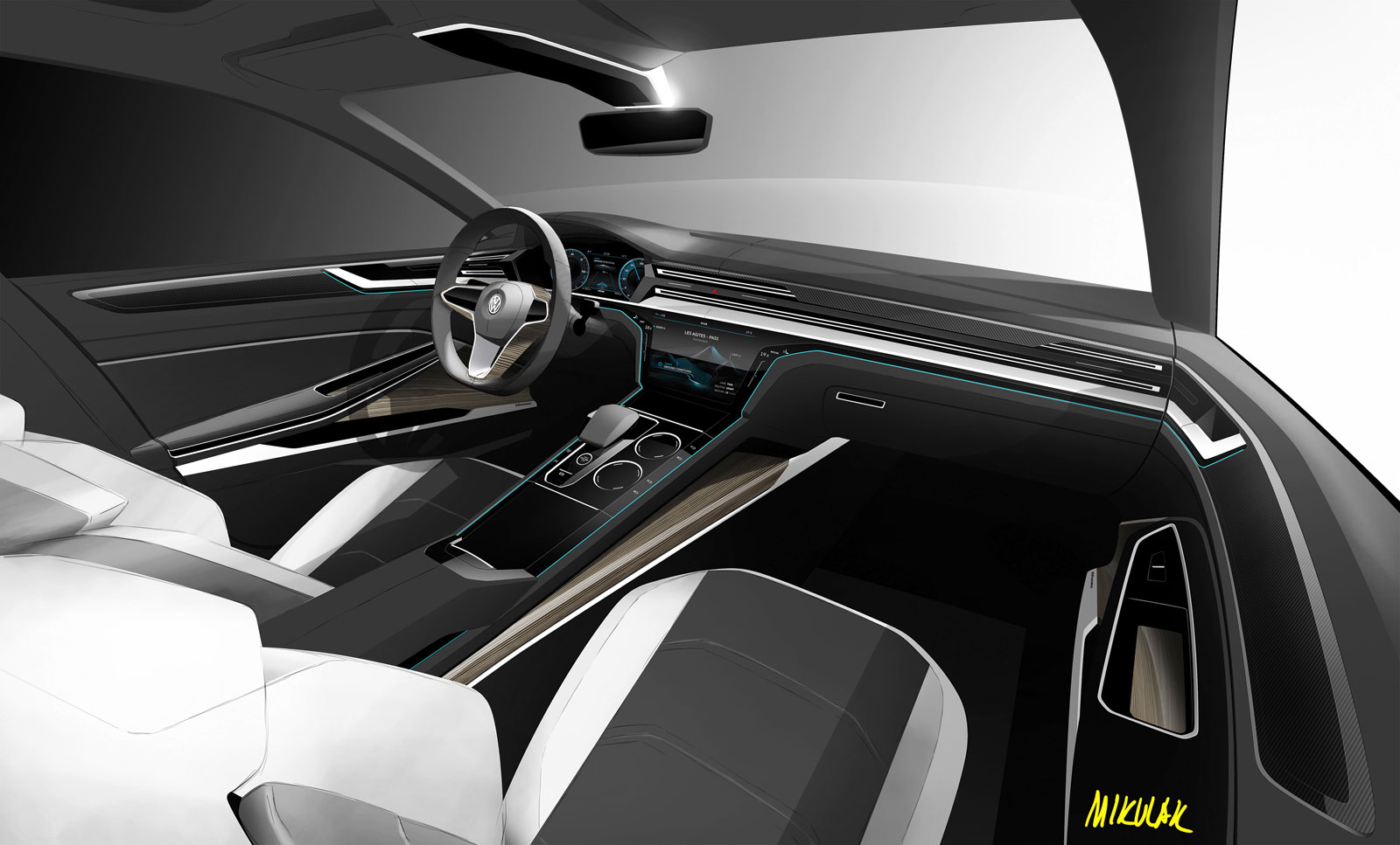 Vw sport coupe concept gte interior design sketch car - Car interior design ...