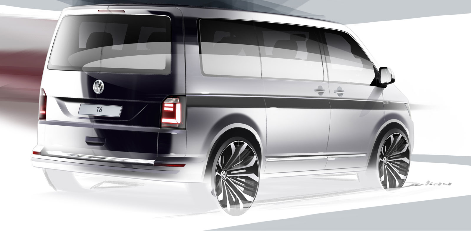 sixth gen volkswagen transporter previewed in design render car body design. Black Bedroom Furniture Sets. Home Design Ideas