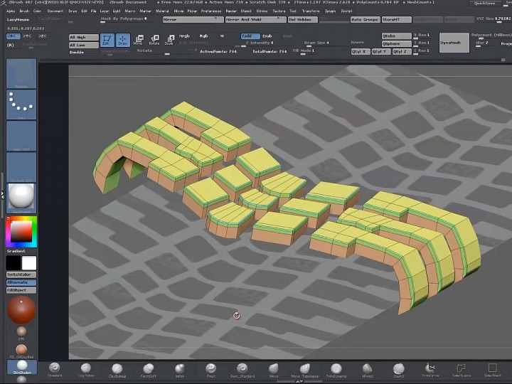 Modeling a tire tread in ZBrush Zmodeler