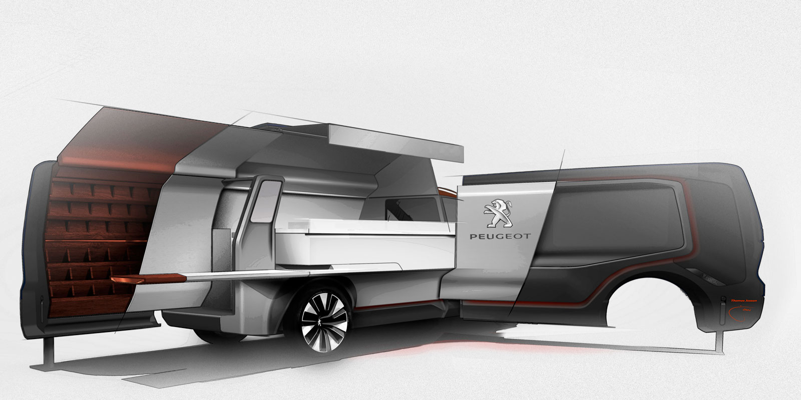 Peugeot foodtruck concept design sketch render car body for Design food truck online
