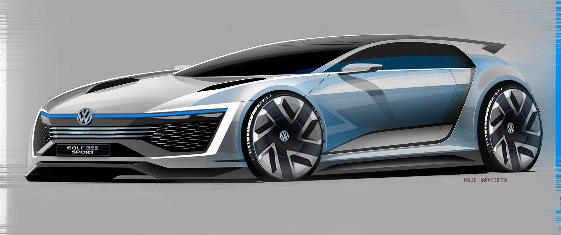Exceptional Volkswagen Golf GTE Sport Concept Design Sketch