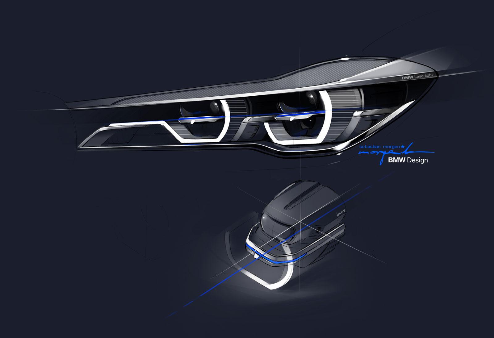 BMW 7 Series Headlight Design Sketch - Car Body Design