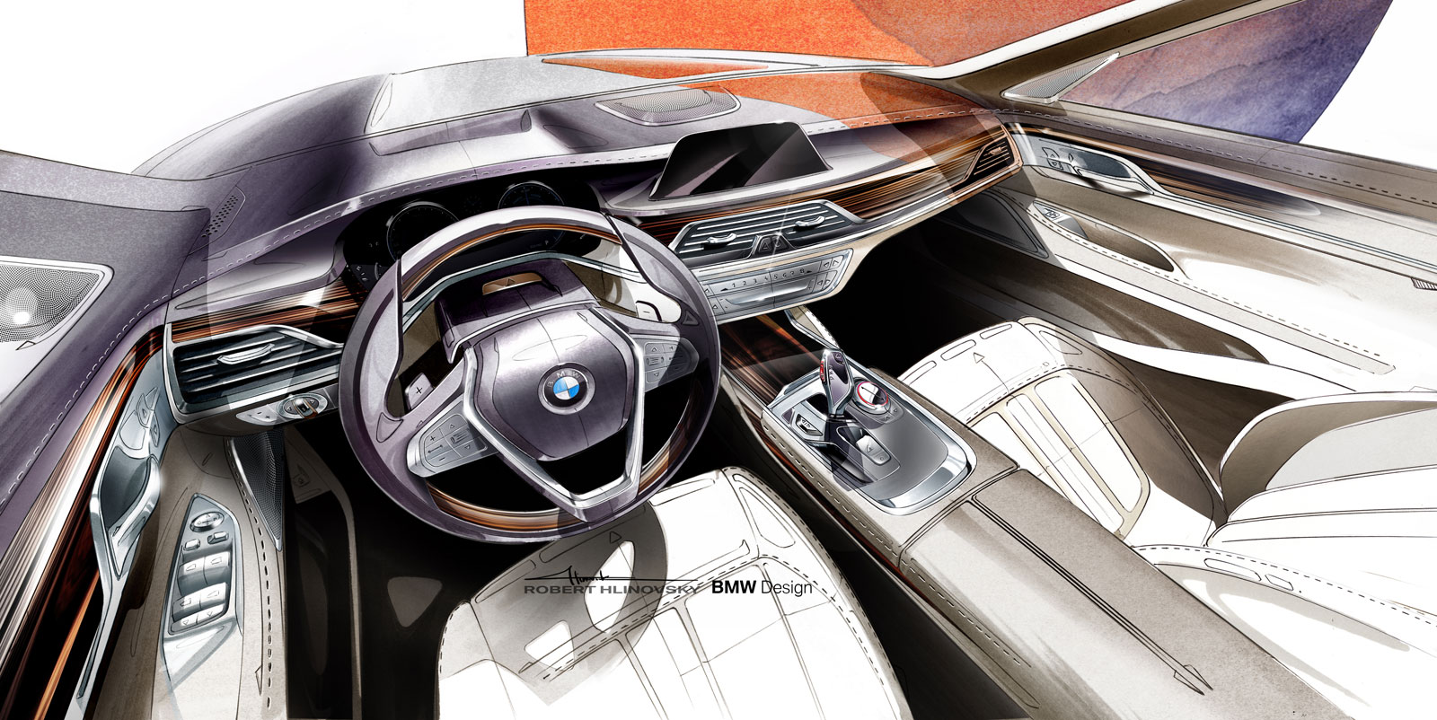 bmw 7 series interior design sketch car body design. Black Bedroom Furniture Sets. Home Design Ideas