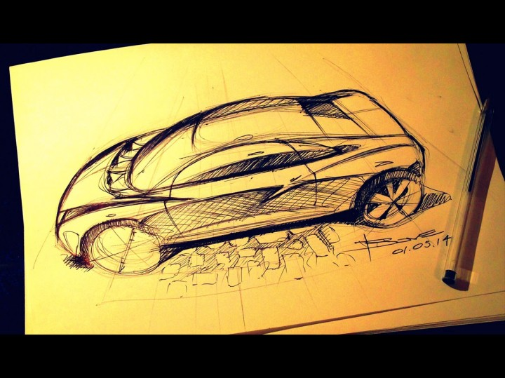Top side perspective car sketch tutorial