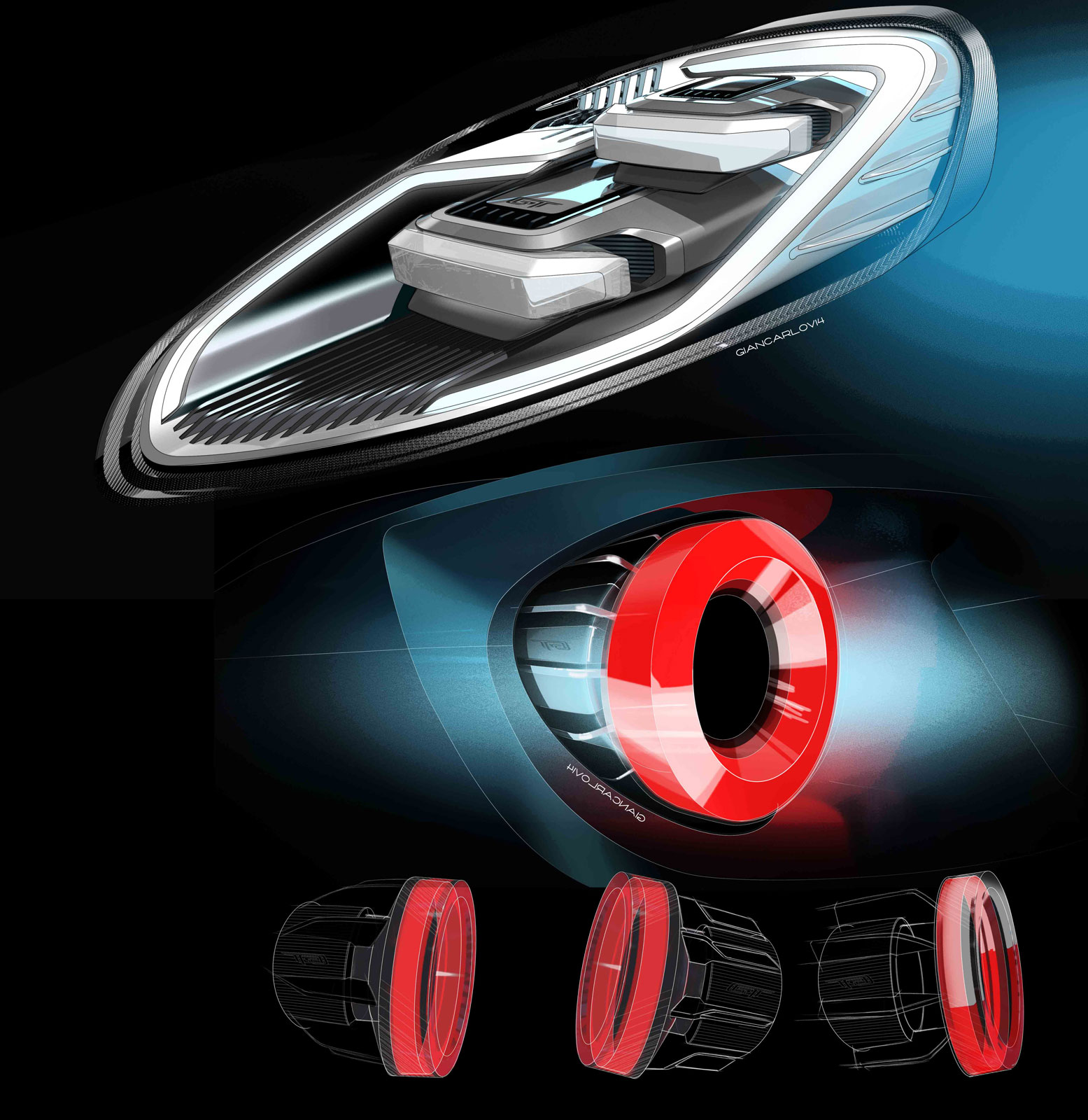 Ford GT Headlight And Tail Light Design Sketches By