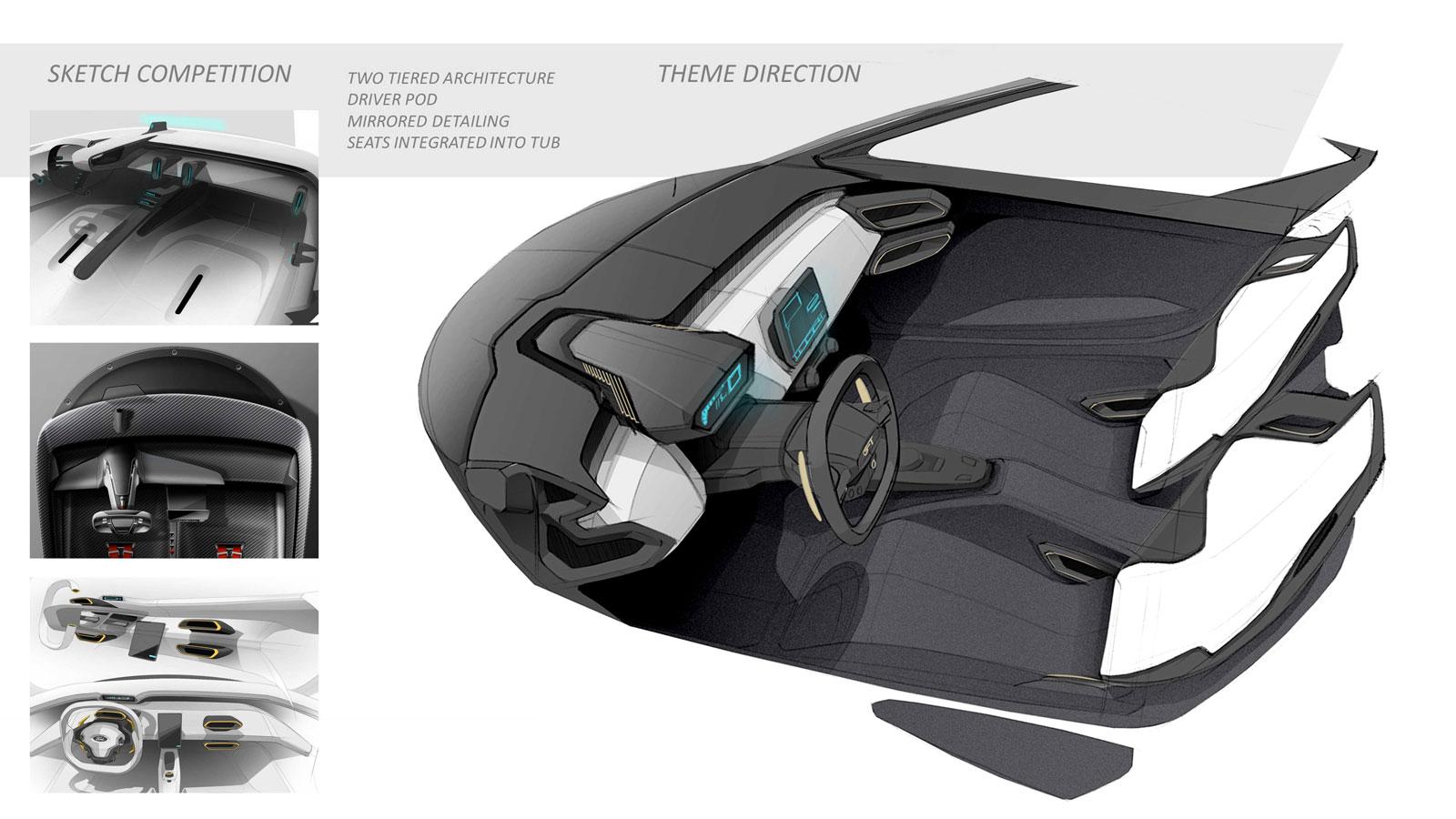 Ford Gt Interior Design Sketch Render Design Direction