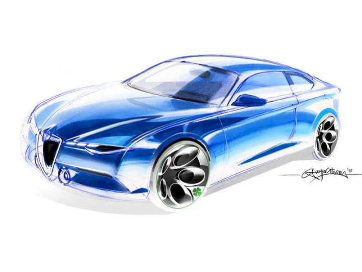 Car sketching and rendering with markers and Photoshop