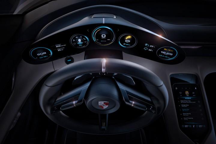 Porsche mission e is a sleek futuristic ev car body design for Car interior design app