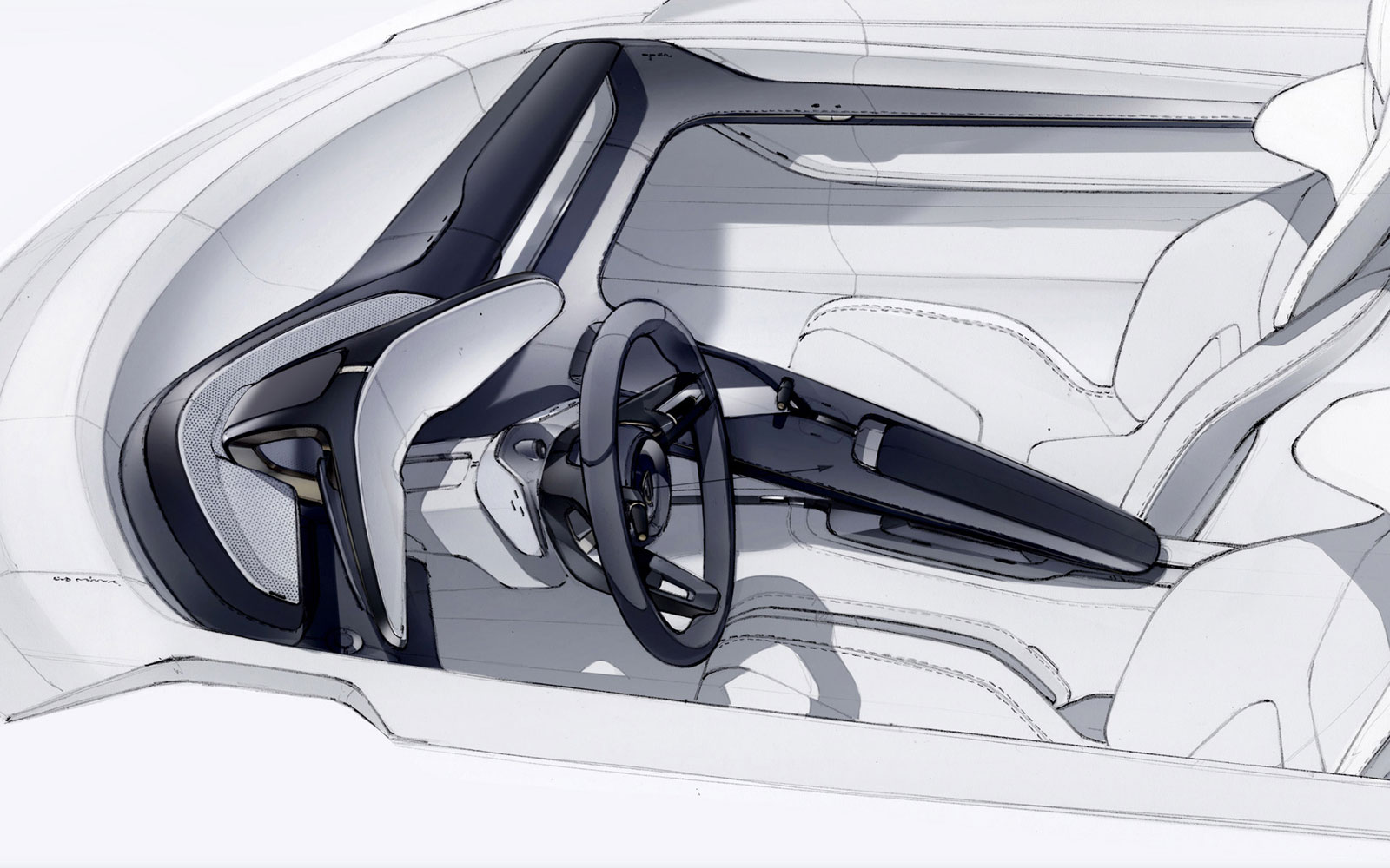 Porsche mission e concept interior design sketch car - Car interior design ...