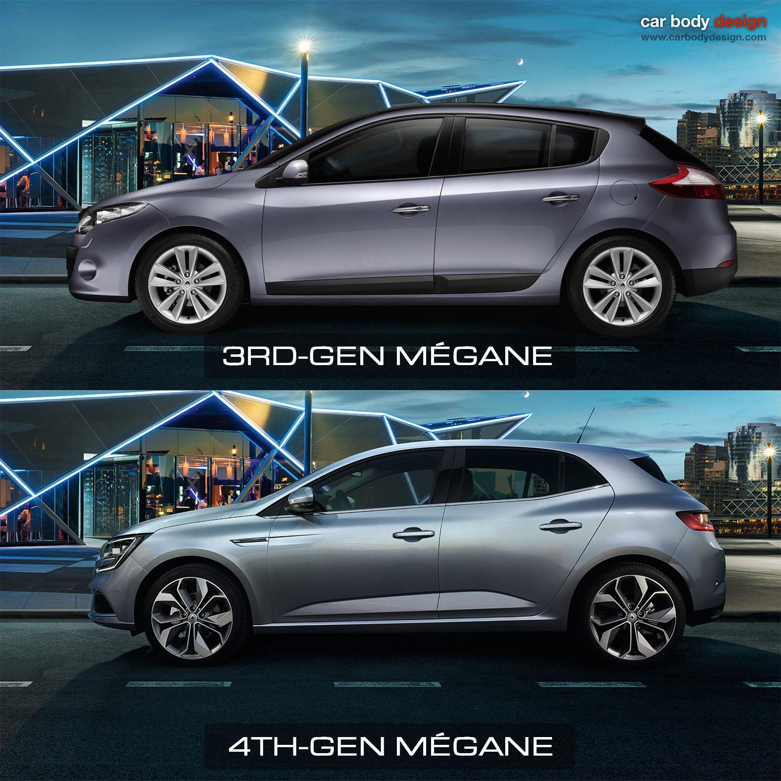 renault megane 3rd vs 4th generation design comparison car body design. Black Bedroom Furniture Sets. Home Design Ideas