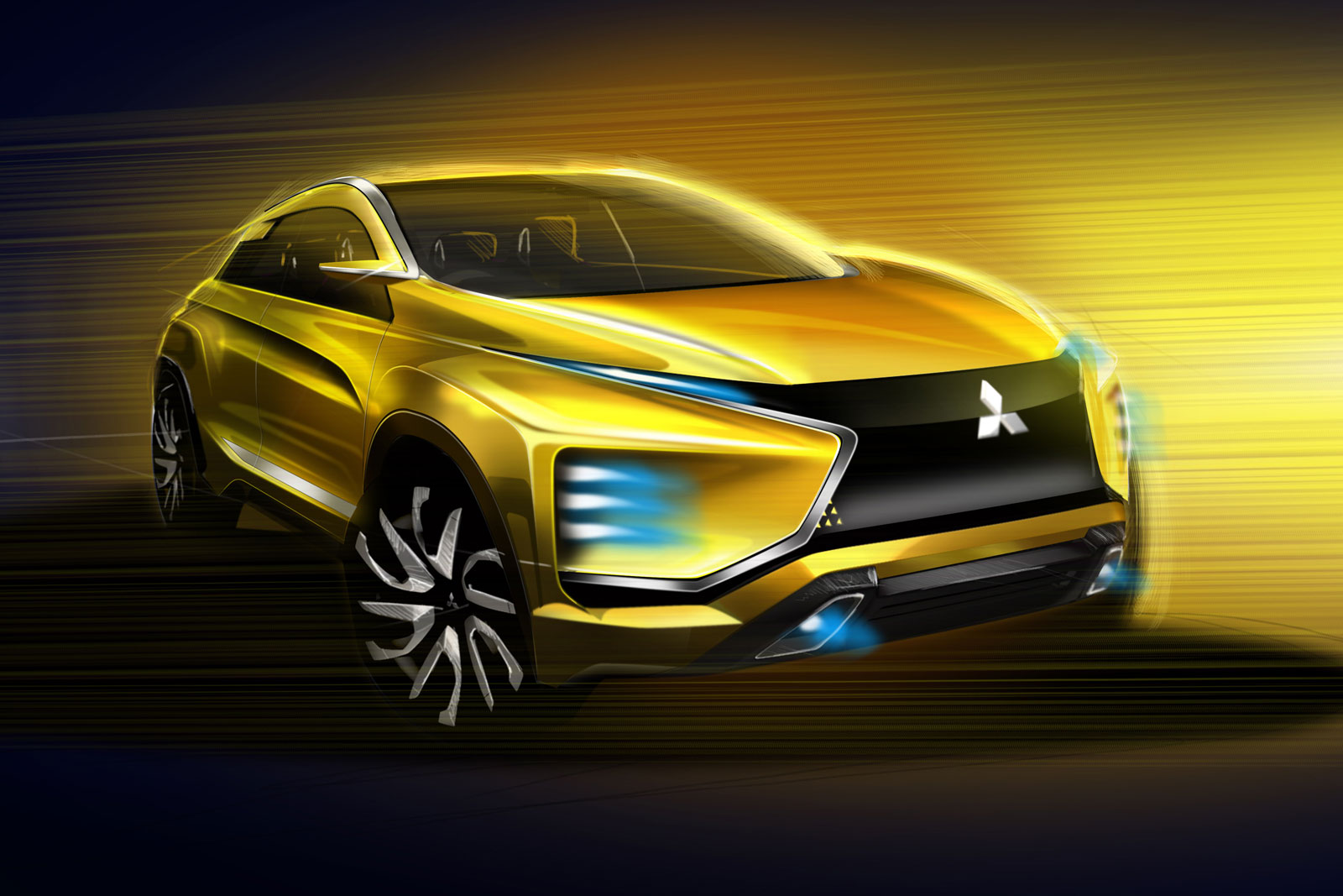 Mitsubishi eX Concept Design Sketch Render - Car Body Design