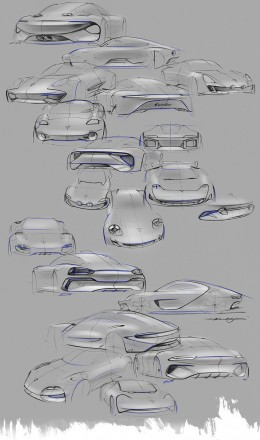 Porsche 911 Turbo Hybrid Concept Design Sketches by David Khachatryan1
