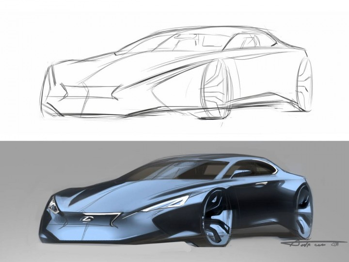 lexus concept from drawing to render car body design