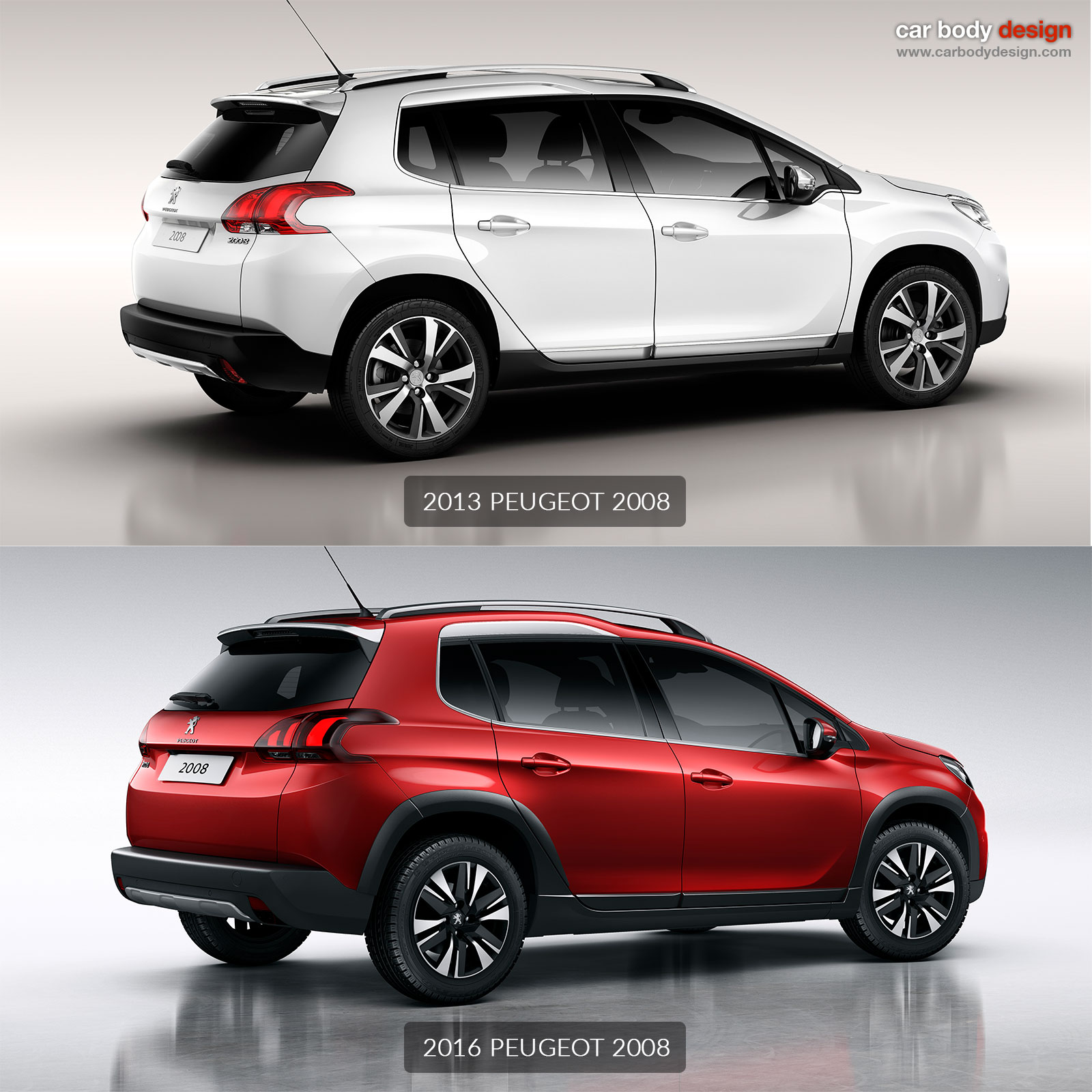 2013 peugeot 2008 vs 2016 peugeot 2008 design comparison car body design. Black Bedroom Furniture Sets. Home Design Ideas