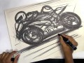 Sketching motorcycles with markers