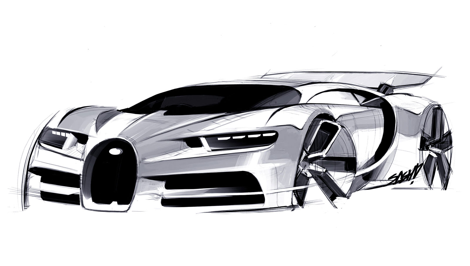 02 Bugatti Chiron Design Sketch 04jpg 1600906 Car sketch