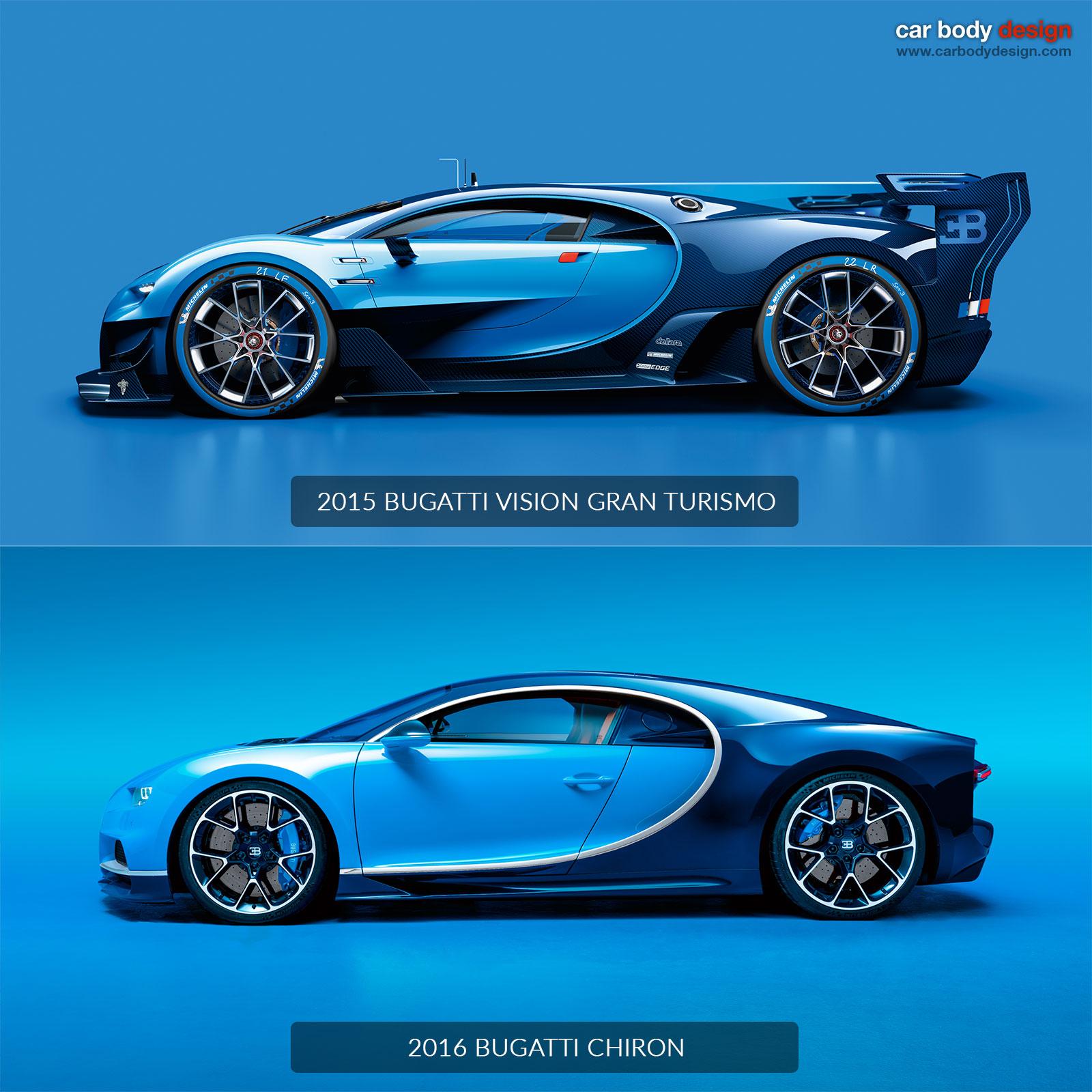 Bugatti Chiron Vs Vision Gran Turismo Design Comparison