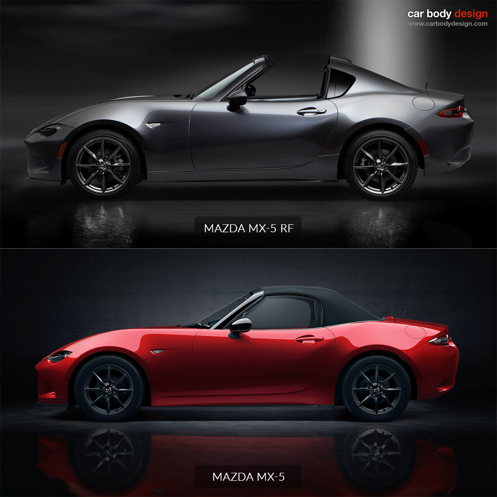 mazda mx 5 rf vs mx 5 design comparison car body design. Black Bedroom Furniture Sets. Home Design Ideas