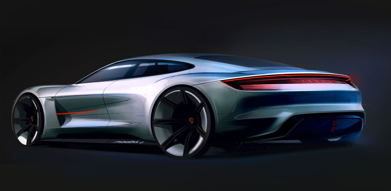 Porsche Mission E Concept Design Sketch - Car Body Design