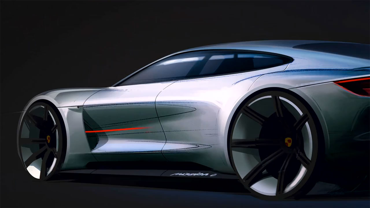 Porsche Mission E Concept Design Sketch Detail Car Body Design