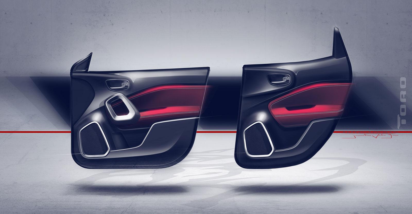 Fiat Toro Interior Design Sketch Render Door Panel