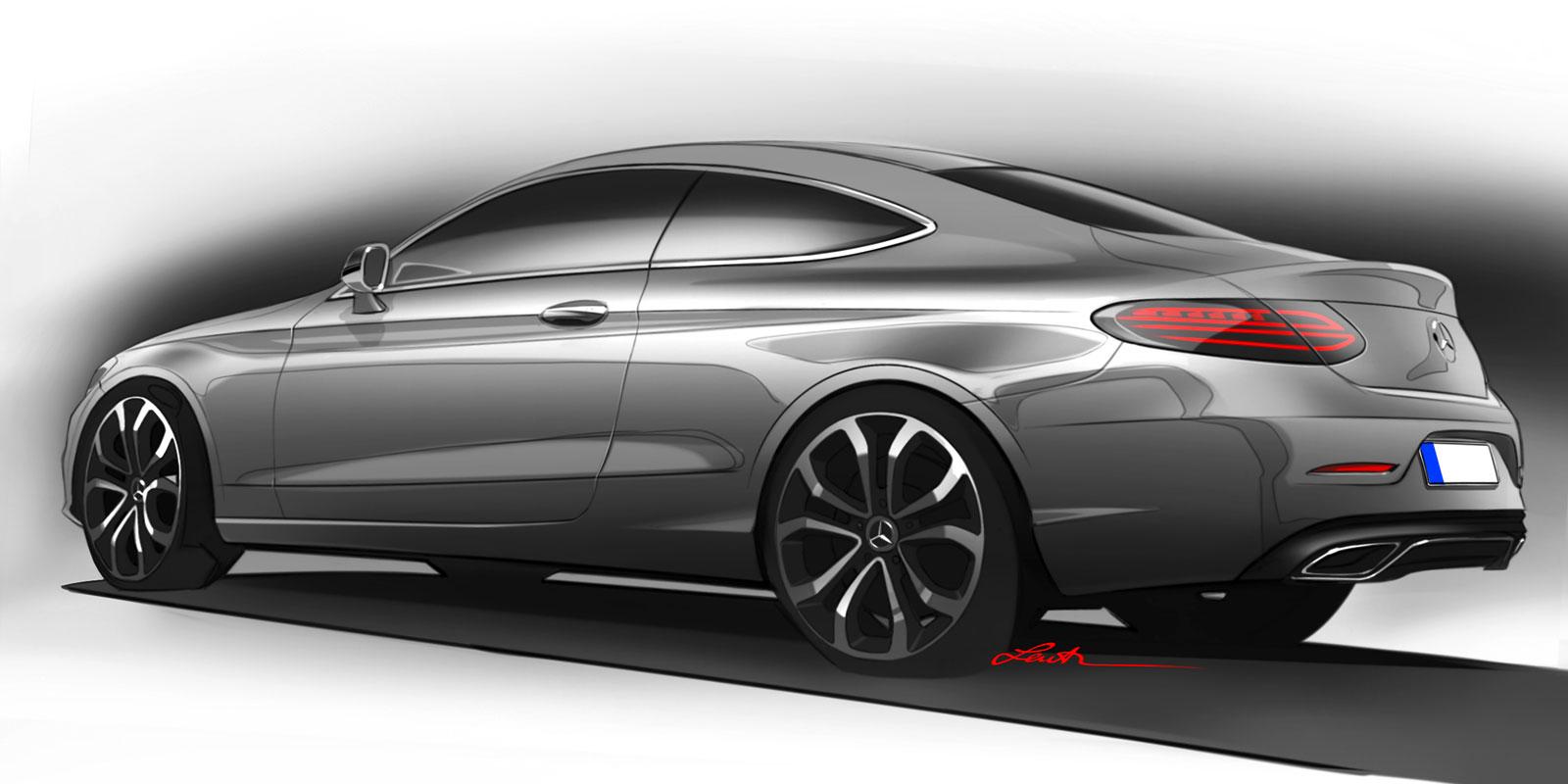 Mercedes benz c class coupe design sketch car body design for Mercedes benz design