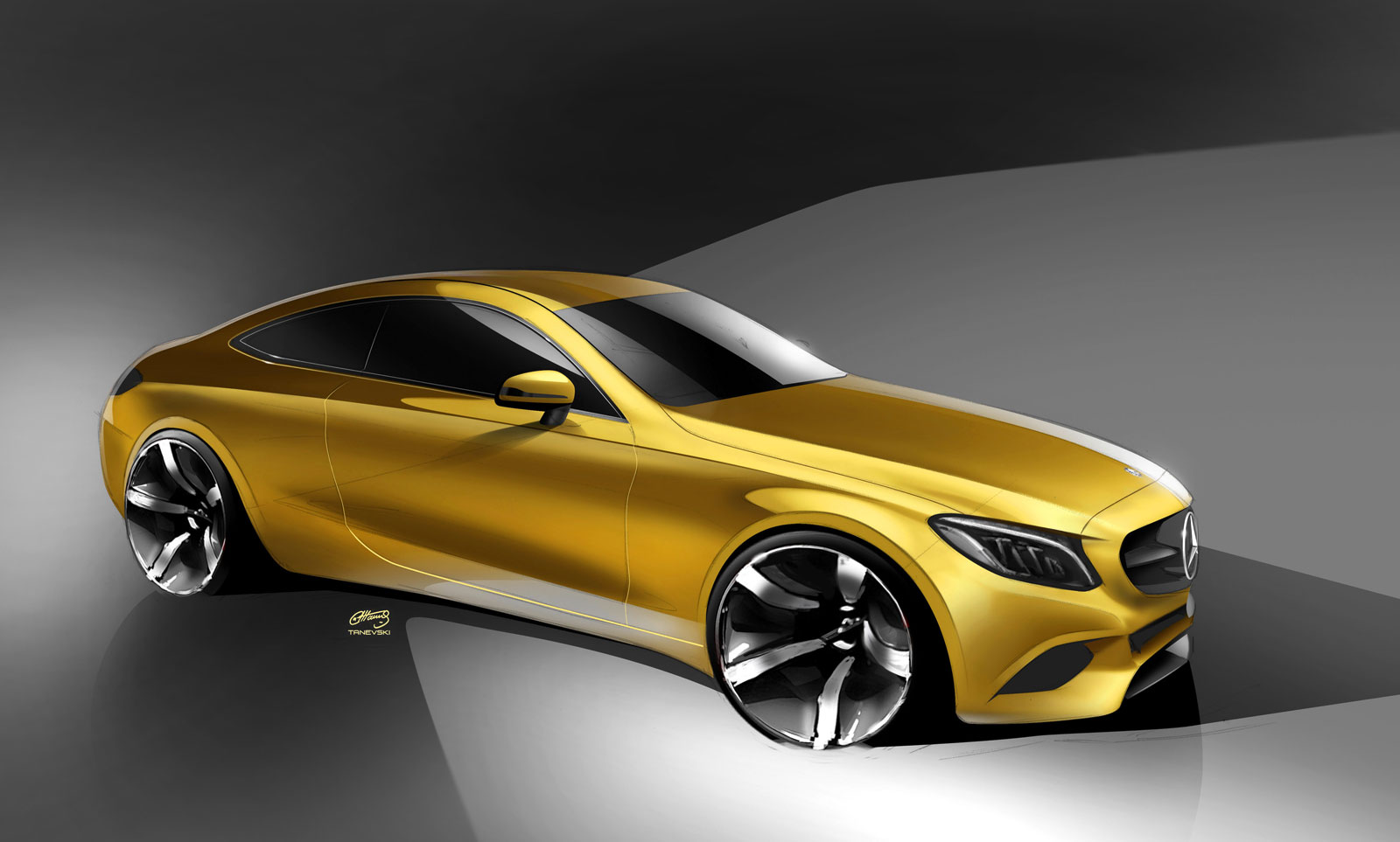 Mercedes benz c class coupe design sketch car body design for Mercedes benz c coupe