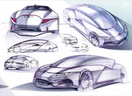 9 Design Sketches by Car Design Academy students