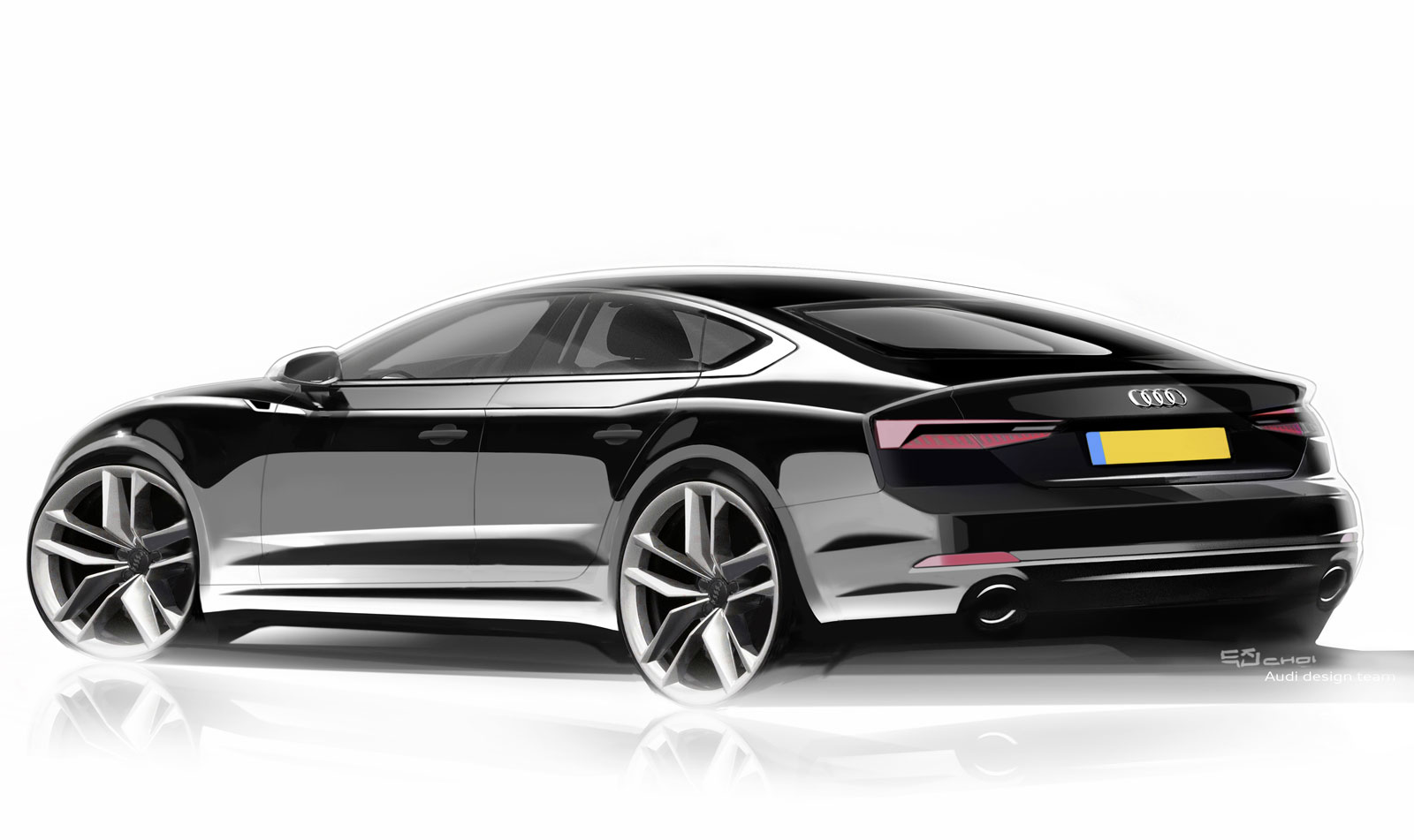 Audi A5 Sportback Design Sketch Render Car Body Design