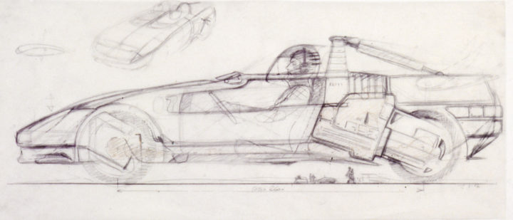 1988 Italdesign Aztec Concept Design Sketch Drawing