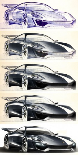 Porsche - from sketch to render by Pedro Ruperto