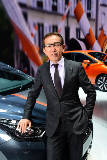 Shiro Nakamura and the new Nissan Micra at the 2016 Paris Show